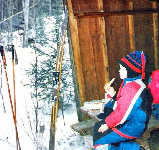 Little Quinn in ski shelter