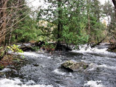Water rushing into Bearskin Lake on10/9