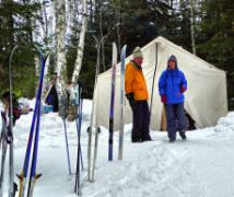Skis parked by CookTent
