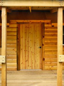 The front door to a new cabin