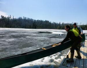 Canoe going onto ice